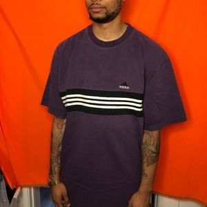Vtg 90s Adidas 3 stripe purple shirt